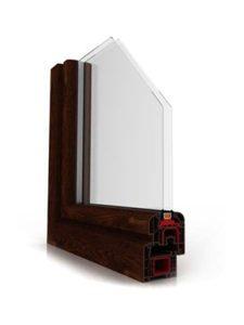 okno ideal 4000 mahoń