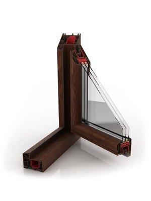 okna pcv total wood effect orzech