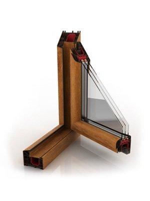 okna pcv total wood efect złoty dąb